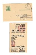 UX27 Oddity Miscut Postally Used Advert Promo Phila PA Olney Station 1934 Duplex Cancel - Errors, Freaks & Oddities (EFOs)