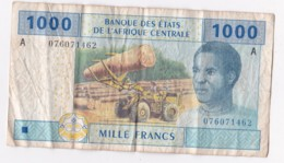 Banque Des Etats De L'Afrique Centrale 1000 Francs 2002, Alphabet A N° 076071462 - Gabon