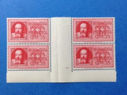 1933 ITALIA REGNO FRANCOBOLLI NUOVI STAMPS NEW MNH** 35 CENT POSTA PNEUMATICA GALILEO GALILEI QUARTINA PONTE - 1900-44 Vittorio Emanuele III