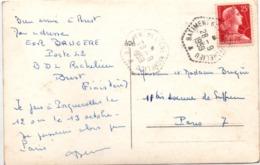 Bâtiment De Ligne Richelieu 1959 - Hexagonal Agence Poste Navale - Sur Carte Marius Bar Représentant Le BdL Richelieu - Poststempel (Briefe)