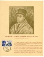 FEUILLET MARECHAL DE LATTRE DE TASSIGNY  TIMBRE ET CACHET 1ER JOUR NUMEROTE RARE - Guerre Mondiale (Seconde)