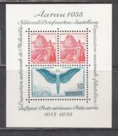 Switzerland 1938 - Briefmarkenausstellung In Aarau, 25 Jahre Schweizer Flugpost, Mi-Nr. Block 4, MNH** - Switzerland