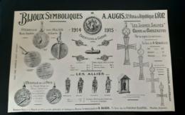 AUGIS 1915 BIJOUX DE GUERRE MEDAILLE BRELOQUE OBUS SOLDATS ALLIES CROIX DE CONSTANTIN MEDAILLES DE LA PAIX PUB MILITARIA - Werbung