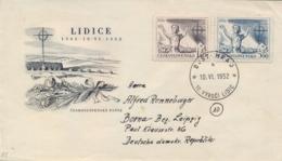 Czechoslovakia 1952 FDC Posted 10th Anniversary Destruction Of Lidice By Nazi - Seconda Guerra Mondiale