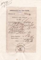 RICEVUTA DEL VAGLIA - UFFICIO POSTALE FIRENZE - COMPARTIMENTO POSTALE LUCCA - EMESSO 1871 - 1861-78 Victor Emmanuel II.