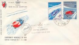 Italia Italy 1966 FDC FILAGRANO Campionati Mondiali Di Bob World Bobsleigh Championships Annullo Di Cortina D'Ampezzo - Wintersport (Sonstige)