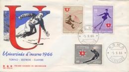 Italia Italy 1966 FDC TRE STELLE Universiadi Invernali A Torino Winter University Sports Games In Turin - Inverno