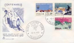 Italia Italy 1972 FDC CAPITOLIUM Centenario Società Alpinisti Tridentini SAT Centenary Tridentine Mountaineers' Society - Arrampicata