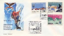 Italia Italy 1972 FDC ROMA Centenario Società Alpinisti Tridentini SAT Centenary Tridentine Mountaineers' Society - Arrampicata