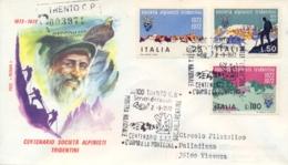 Italia Italy 1972 FDC ROMA Centenario Società Alpinisti Tridentini SAT Centenary Tridentine Mountaineers' Society Posted - Arrampicata