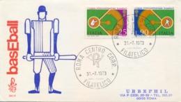 Italia Italy 1973 FDC VENETIA 1° Coppa Intercontinentale Baseball 1st Intercontinental Baseball Cup - Baseball