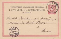 DR Ganzsache K2 Cleve 12.8.84 Gel. In Die Schweiz - Cartas