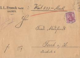DR Wertbrief EF Minr.92 Aachen 19.9.16 Gel. Nach Forst - Covers & Documents