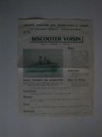"""Plaquette Publicitaire Pour Le BISCOOTER VOIVIN,moteur """"Gnome&Rhone"""" 125 Cm3,60km/h - Automobile"""