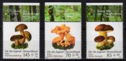 2018 Germany - For The Youth - Mushrooms - MNH** MiNr. 3407 - 3409 Chanterelle, Penny Bun, Bay Bolete - Pilze