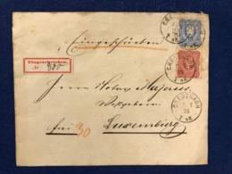 Deutschland - Briefumschlag - Creuznach 7.7.1875 - 20 + 10 Pfennige - Eingeschrieben Nr 800 - Nach Luxemburg + 2 Siegel - Deutschland