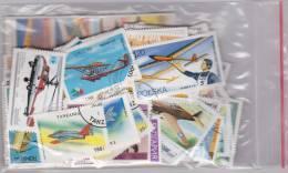 Lot Varié De + De 230 Timbres Du Monde Différents Thème AVIATION - AVION - PLANE - DIRIGEABLE - HELICOPTERE - ZEPPELIN - Briefmarken