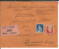 SBK 108, 109, Mi 102, 103, Wertbrief St. Gallen Vonwil 1.5.21 Nach Küsnacht - Schweiz
