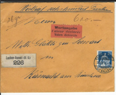 SBK 109, Mi 103, Wertbrief Lachen-Vonwil 30.4.14 Nach Küsnacht - Lettres & Documents
