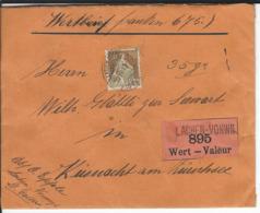 SBK 110, Mi 104, Wertbrief Lachen-Vonwil 30.4.17 Nach Küsnacht - Lettres & Documents