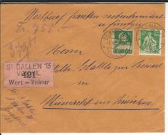 SBK 110, 153, Mi 104, 164, Wertbrief St. Gallen Vonwil 1.5.22 Nach Küsnacht - Schweiz
