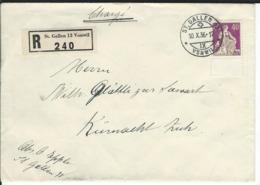 SBK 176z, Mi 208z R-Brief St. Gallen Vonwil 10.10.36 Nach Küsnacht - Lettres & Documents