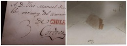 O) 1800 CIRCA - CHILE, COLONIAL MAIL. PRESTAMP - PREPHILATELY, 3 REALES MANUSCRIPT, RED LINE CHILE , TO BUENOS AIRES - Chile