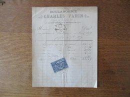 SOTTEVILLE LES ROUEN CHARLES VARIN BOULANGERIE PLACE DE LA CROIX N° 10 FACTURE DU 1er AVRIL 1879 TIMBRE QUITTANCES - Frankreich