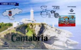 FDC Cantabria 12 Meses - 12 Sellos - BISONTE DE ALTAMIRA - Pintura Rupestre. Santander, Cantabria, 2019 - 1931-Aujourd'hui: II. République - ....Juan Carlos I