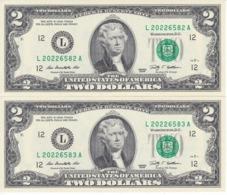 PAREJA CORRELATIVA DE ESTADOS UNIDOS DE 2 DOLLARS DEL AÑO 2009 SERIE L (BANK NOTE) SIN CIRCULAR-UNCIRCULATED - Billetes De La Reserva Federal (1928-...)