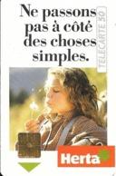CARTE-PUCE-PRIVEE-PUBLIC- 50U-EN-429-GemA-08/92-HERTA-Série A-R°Glacé-UTILISE-LUXE-RARE - France