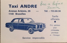 Taxi André, Carte De Visite, Bruxelles. - Cartes De Visite