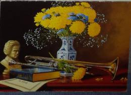 Petit Calendrier De Poche 1998 Illustration Fleurs Trompette ....  APBP  ..original.peint Avec La Bouche - Calendars