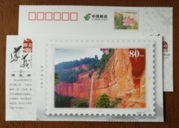 Chishui Danxia Grand Waterfall In Foguangyan Scenic Spot,China 2015 The 80th Anni. Of Zunyi Meeting Pre-stamped Card - Holidays & Tourism