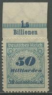 Deutsches Reich 1923 Korbdeckel Platten-Oberrand 330 BP OR B Postfrisch - Deutschland