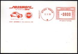 ITALIA PAVIA 1999 - SPECIMEN AICAM (NO POSTALE) - AUTOMEC 3 - MASSIRONI DA 70 ANNI CON FIAT - Automobili