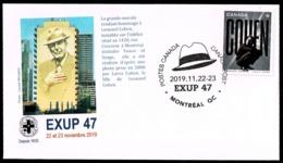 """Canada 2019 Leonard Cohen Music Singers Exhibition Exup Montreal Special Cancellation Hat + Brochure """"en Detail"""" - Omslagen Van De Eerste Dagen (FDC)"""