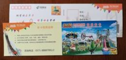 Lion,tiger,sealion,Rotating Swinging Umbrella,Giant Frisbee,Leap Amazon,CN10 Amusement Park Annual Trading Card PSC - Felinos