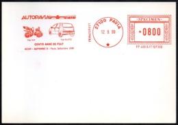 ITALIA PAVIA 1999 - SPECIMEN AICAM (NO POSTALE) - AUTOMEC 3 - CENTO ANNI DI FIAT - Automobili