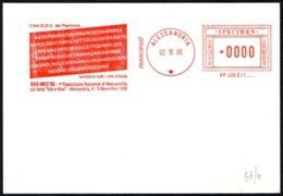 ITALIA ALESSANDRIA 1995 - SPECIMEN AICAM (NO POSTALE) - ENO-MEC '95 - I VINI D.O.C. DEL PIEMONTE - Vini E Alcolici