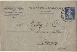 """France Timbre Type Semeuse Camé 40cts (Y&T N°237) Perforé """"A.D."""" Sur CP De 1931 - France"""