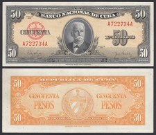 Kuba - Cuba 50 Peso 1950 Pick 81a AUNC (1-)    (25730 - Altri – America