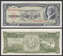 Kuba - Cuba 5 Peso 1960 Pick 91c VF+ (3+)    (25741 - Bankbiljetten