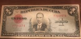 Caribbean Rare 1938 Silver Certificate 1 Peso ( VG) - Cuba
