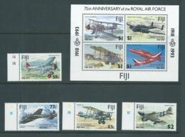 Fiji 1993 Royal Air Force Anniversary Marginal Set 4 & Miniature Sheet MNH - Fiji (1970-...)