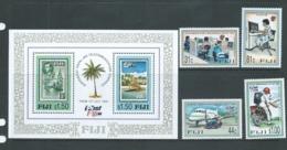 Fiji 1996 Postal & Telecommunication Independence Set 4 & Miniature Sheet - Fiji (1970-...)