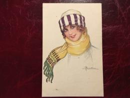 Jeune Fille écharpe&bonnet --Adolfo Busi-(my Ref AB5) - Busi, Adolfo