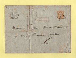 Paris - Bureau F - 15 Avril 1858 - Affranchissement Insuffisant - Lettre Taxee - 1849-1876: Période Classique