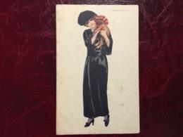 Jeune Femme Robe Longue & Chien--Giovanni Nanni-(my Ref JN2)-1919 - Nanni
