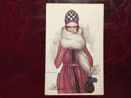 Jeune Femme Manteau Long-écharpe D'hiver--Giovanni Nanni-(my Ref JN3)-1924 - Nanni